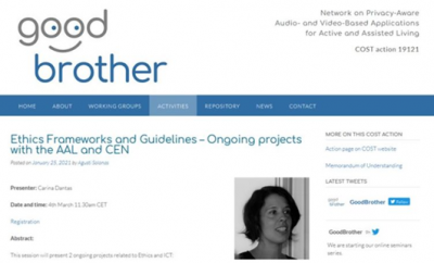 Poster of Good Brother event, with photo of Carina dantas